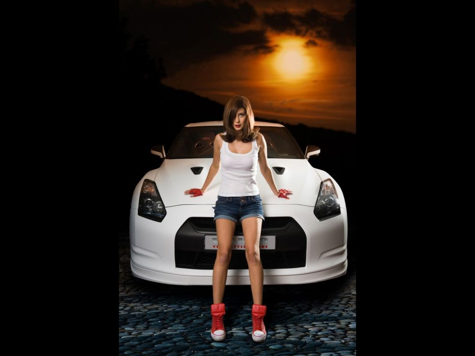 brunettes women sunset cars models Nissan sunlight vehicles supercars static Nissan GTR Spec-V Nissan GTR wallpaper