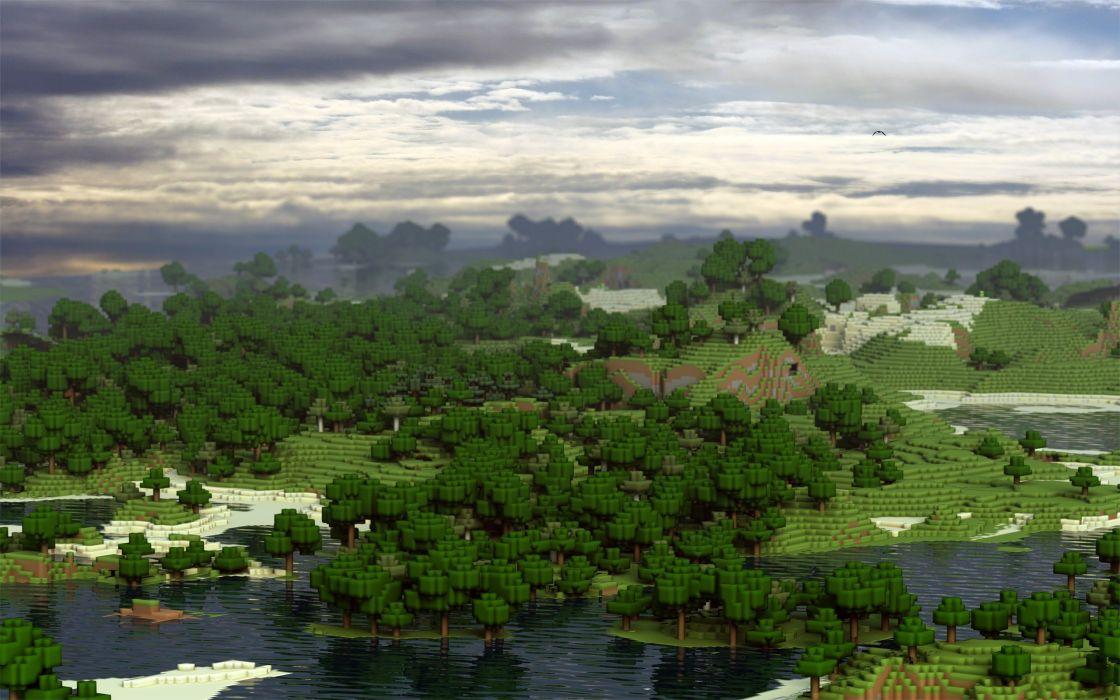 video games landscapes Minecraft digital art block fan art wallpaper