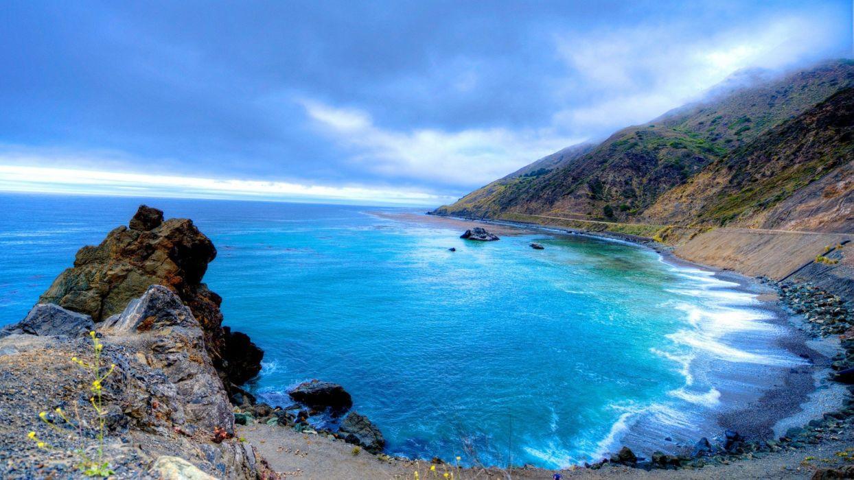 blue landscapes nature hills cove oceanscape beaches wallpaper