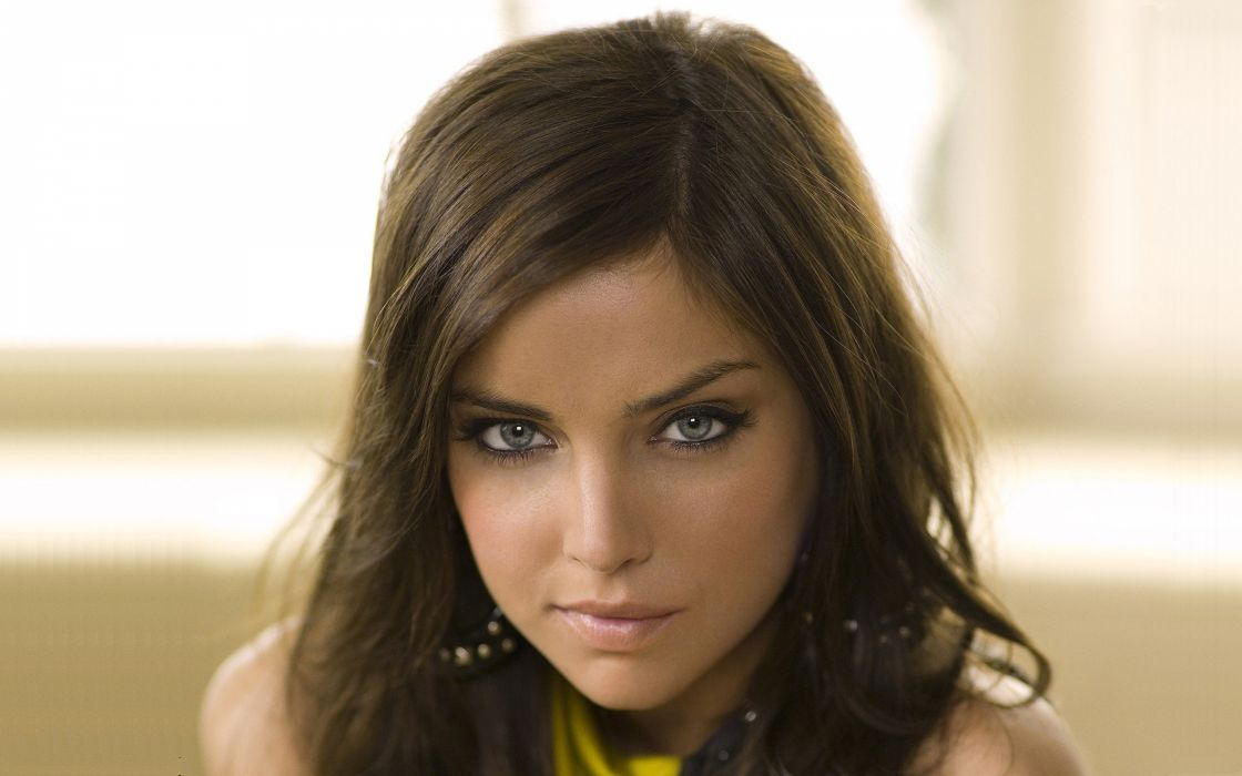 brunettes women close-up blue eyes smiling Jessica Stroup faces wallpaper