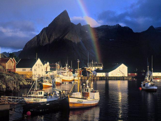 ships rainbows wallpaper