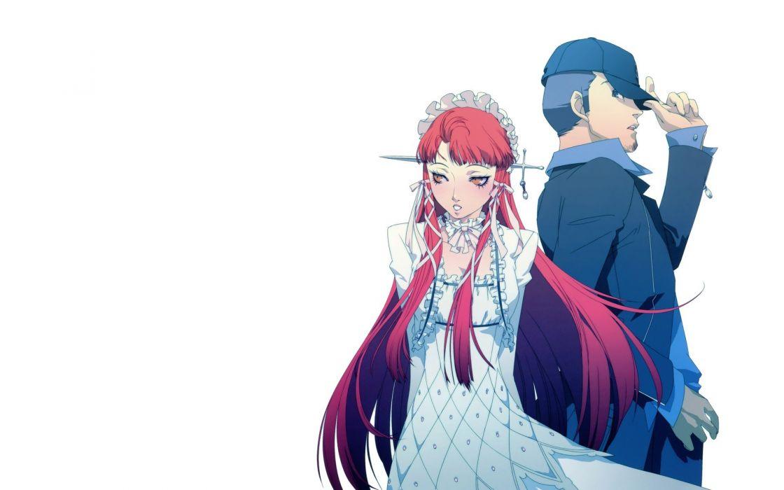 dress redheads long hair Persona series Persona 3 anime boys simple background anime girls Iori Junpei Yoshino Chidori Soejima Shigenori wallpaper