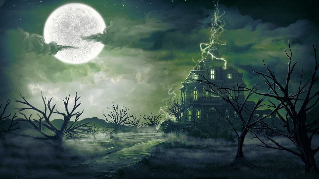 clouds trees stars Moon haunted house wallpaper