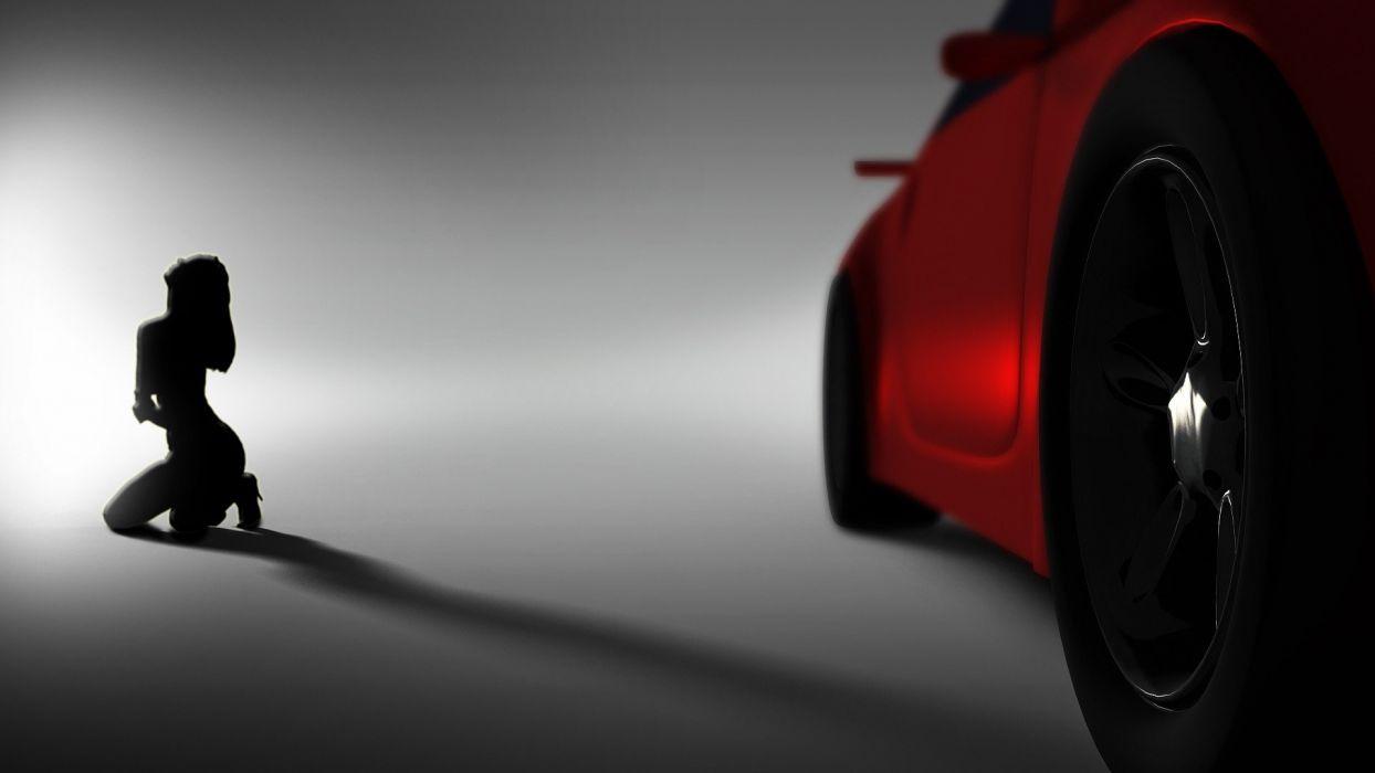 women cars CGI wallpaper