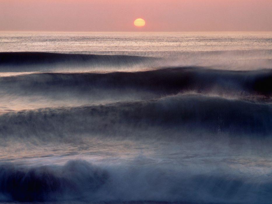 sunrise waves Atlantic Ocean Massachusetts wallpaper