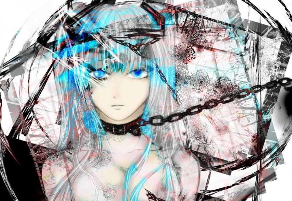women Vocaloid white Hatsune Miku blue eyes twintails chains wallpaper