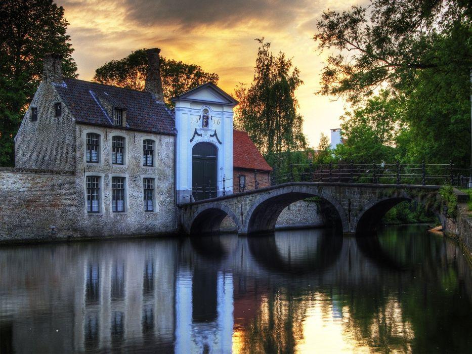 houses bridges buildings rivers wallpaper