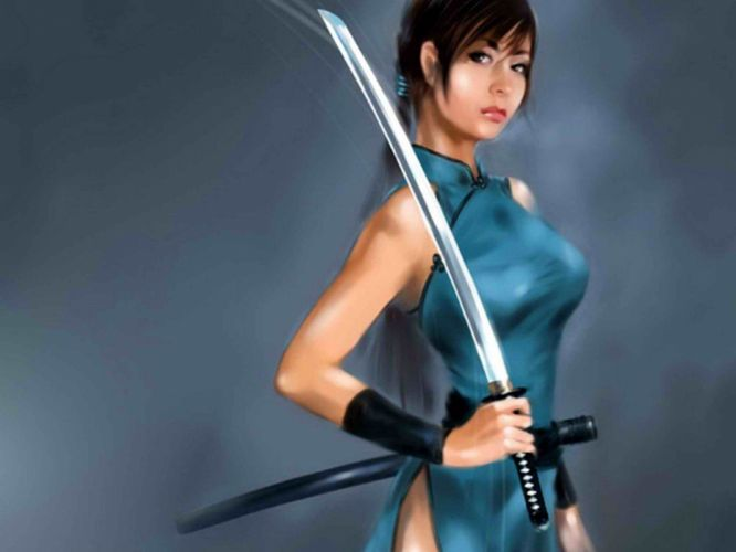 blue katana fantasy art girls with swords swords Chinese clothes wallpaper