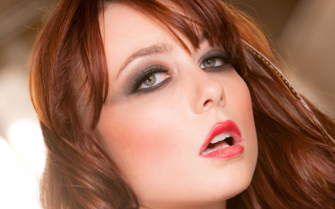 women close-up eyes blue eyes redheads Zoe Voss faces Zoe wallpaper