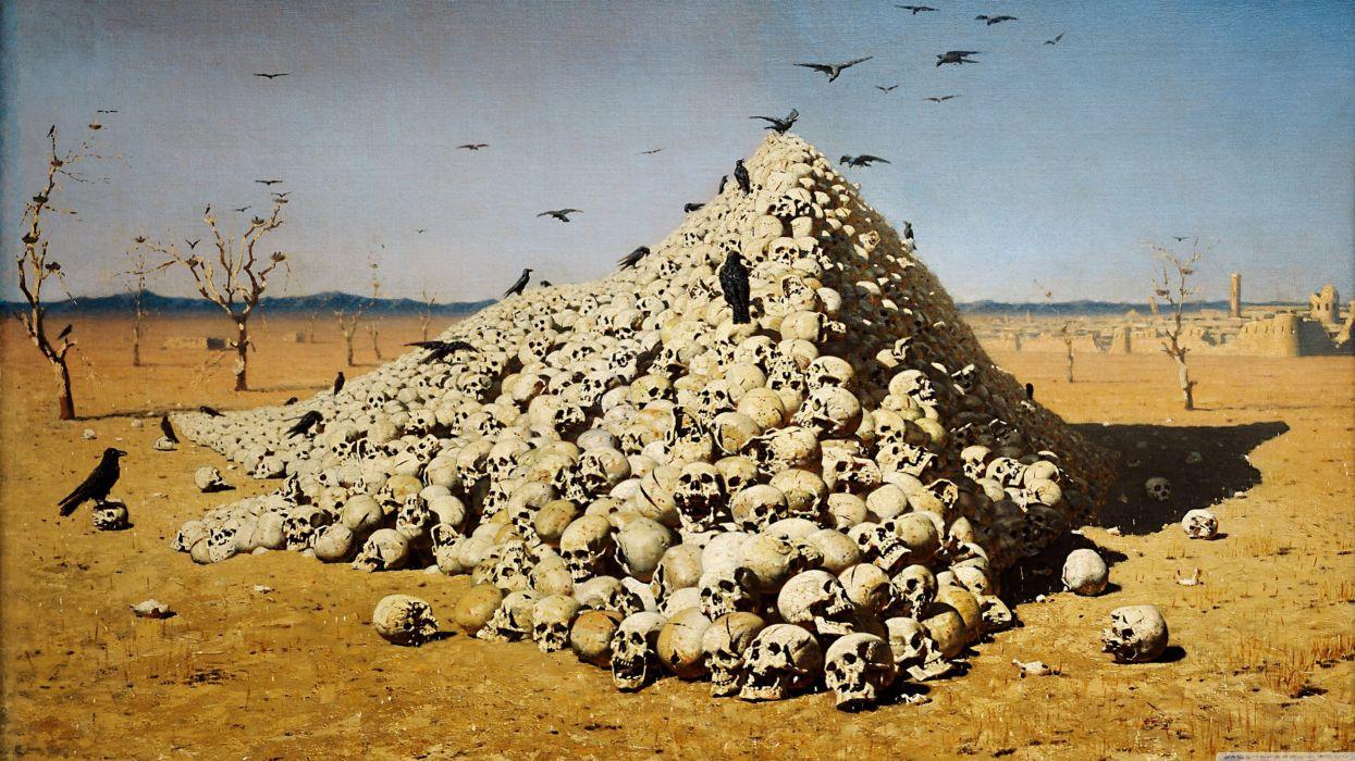 skulls war death oil paint artwork crows Vasily Vereshchagin The Apotheosis of War wallpaper