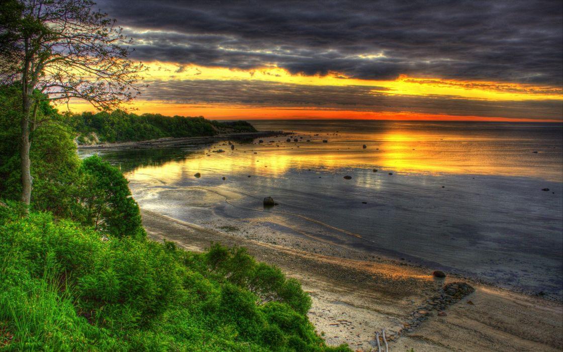 sunset landscapes HDR photography wallpaper