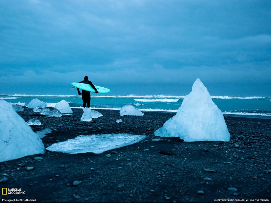 ice National Geographic surfers beaches wallpaper