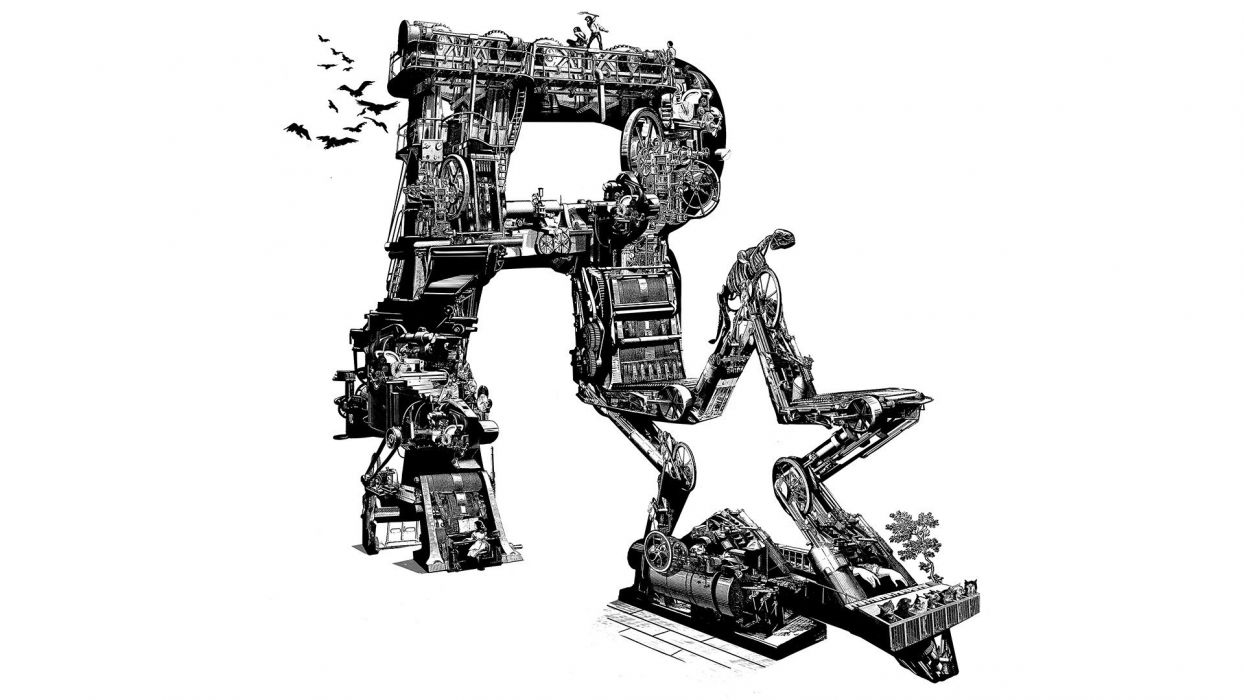 white machine Rockstar Games logos wallpaper