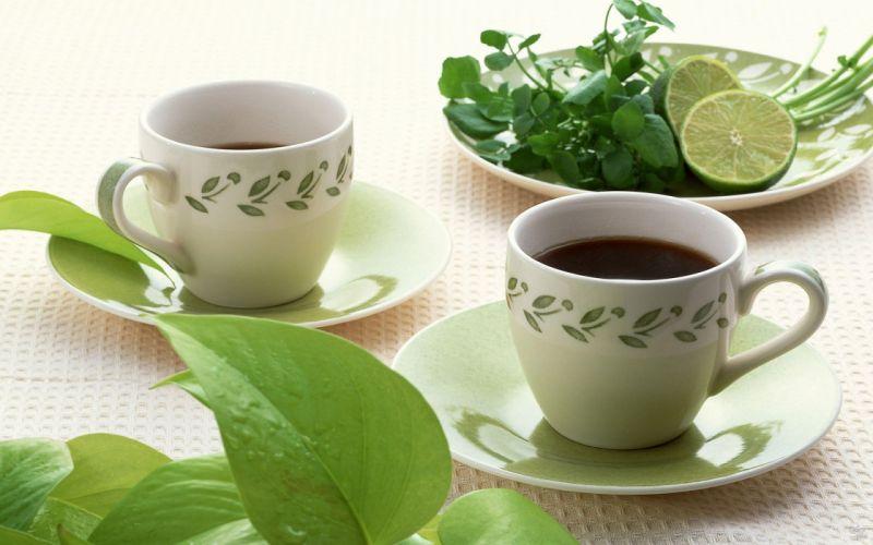 tea cups tables lemons wallpaper