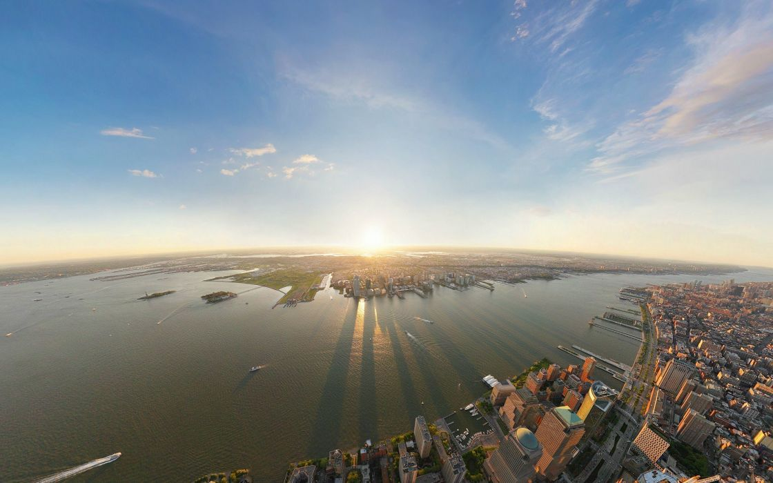 cityscapes New York City wide-angle wallpaper
