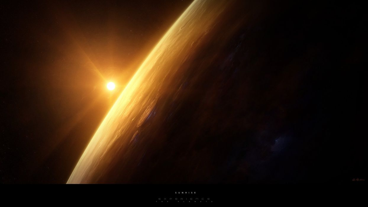 outer space planets digital art wallpaper