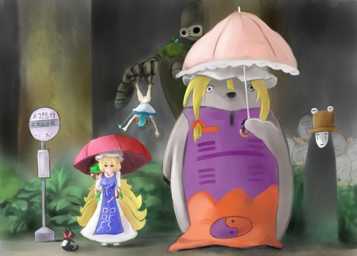 Touhou parody My Neighbour Totoro Yakumo Yukari Studio Ghibli Nichijou Sakamoto Chen Yakumo Ran wallpaper