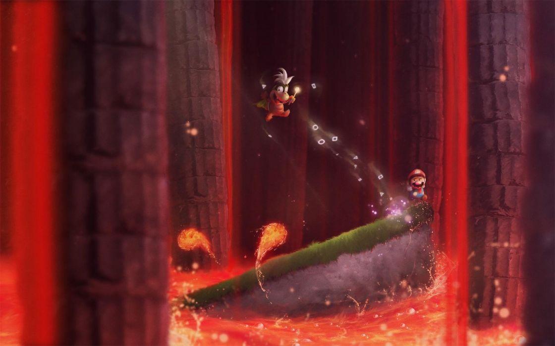 Nintendo video games landscapes caves volcanoes lava boss Super Mario World digital art artwork Super Nintendo pillars magma retro games wallpaper