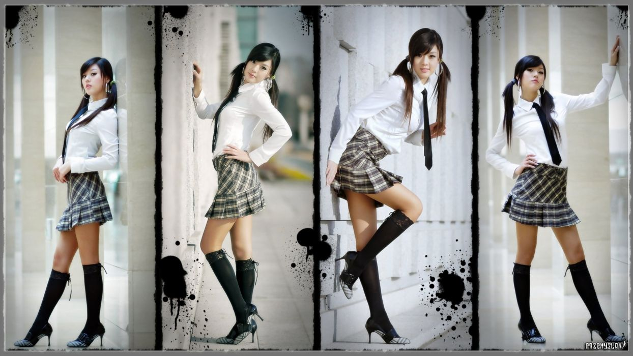 women stockings tie skirts Hwang Mi Hee Asians Korean wallpaper