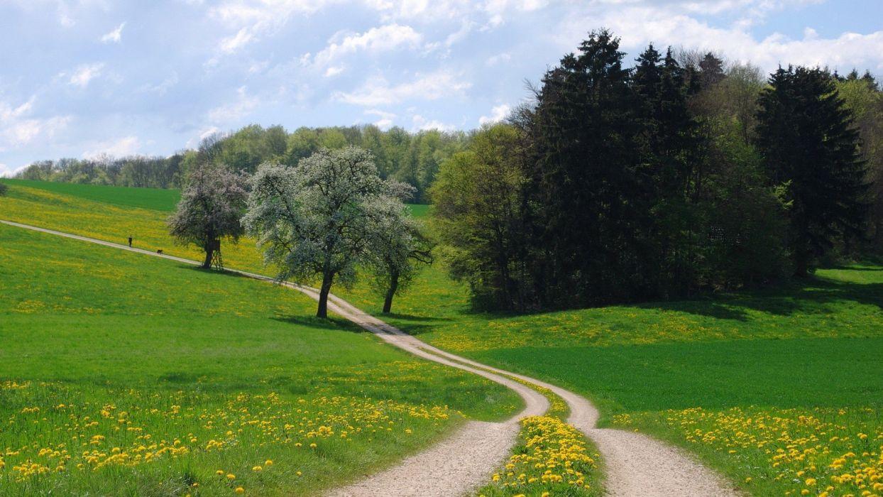 landscapes nature spring land wallpaper