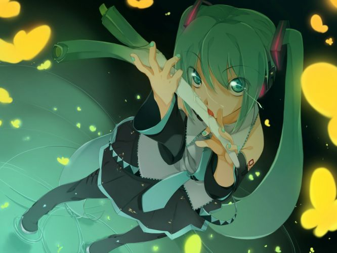 Vocaloid Hatsune Miku Maruku leek detached sleeves butterflies wallpaper