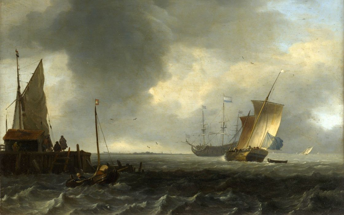 paintings storm boats vehicles sea wallpaper