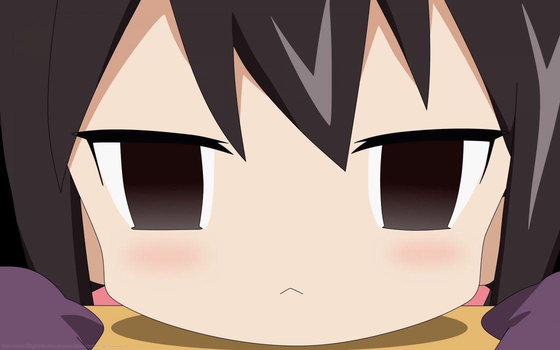 brunettes chibi brown eyes blush anime A-Channel anime girls faces black hair Ichii Tooru wallpaper