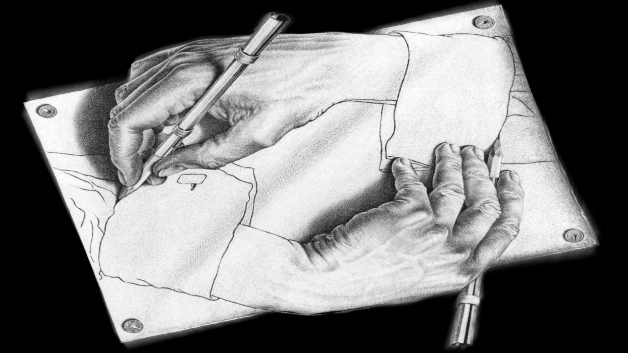 hands drawings optical illusion wallpaper