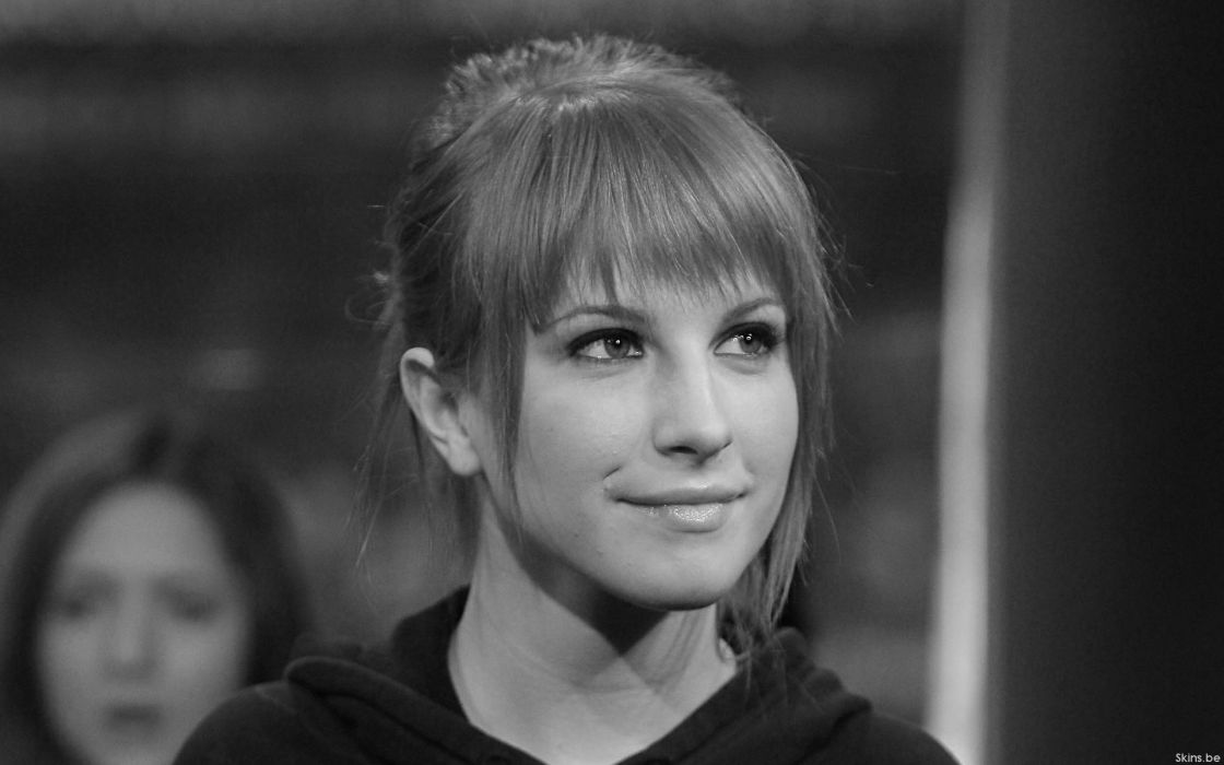 Hayley Williams Paramore women music celebrity singers monochrome wallpaper