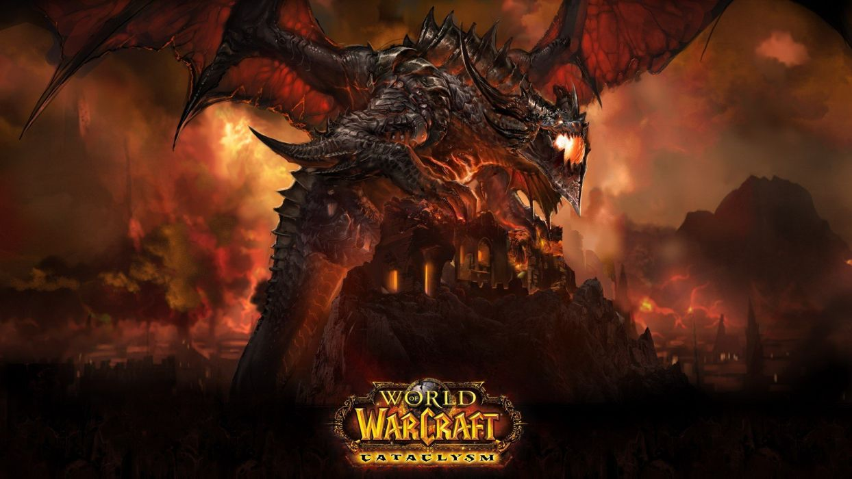 wings World of Warcraft deathwing World of Warcraft: Cataclysm wallpaper