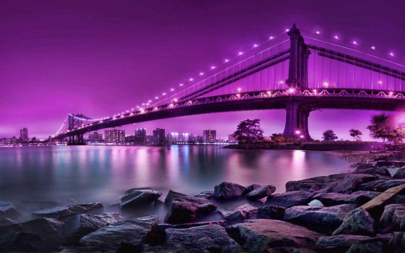 water cityscapes purple bridges city skyline wallpaper