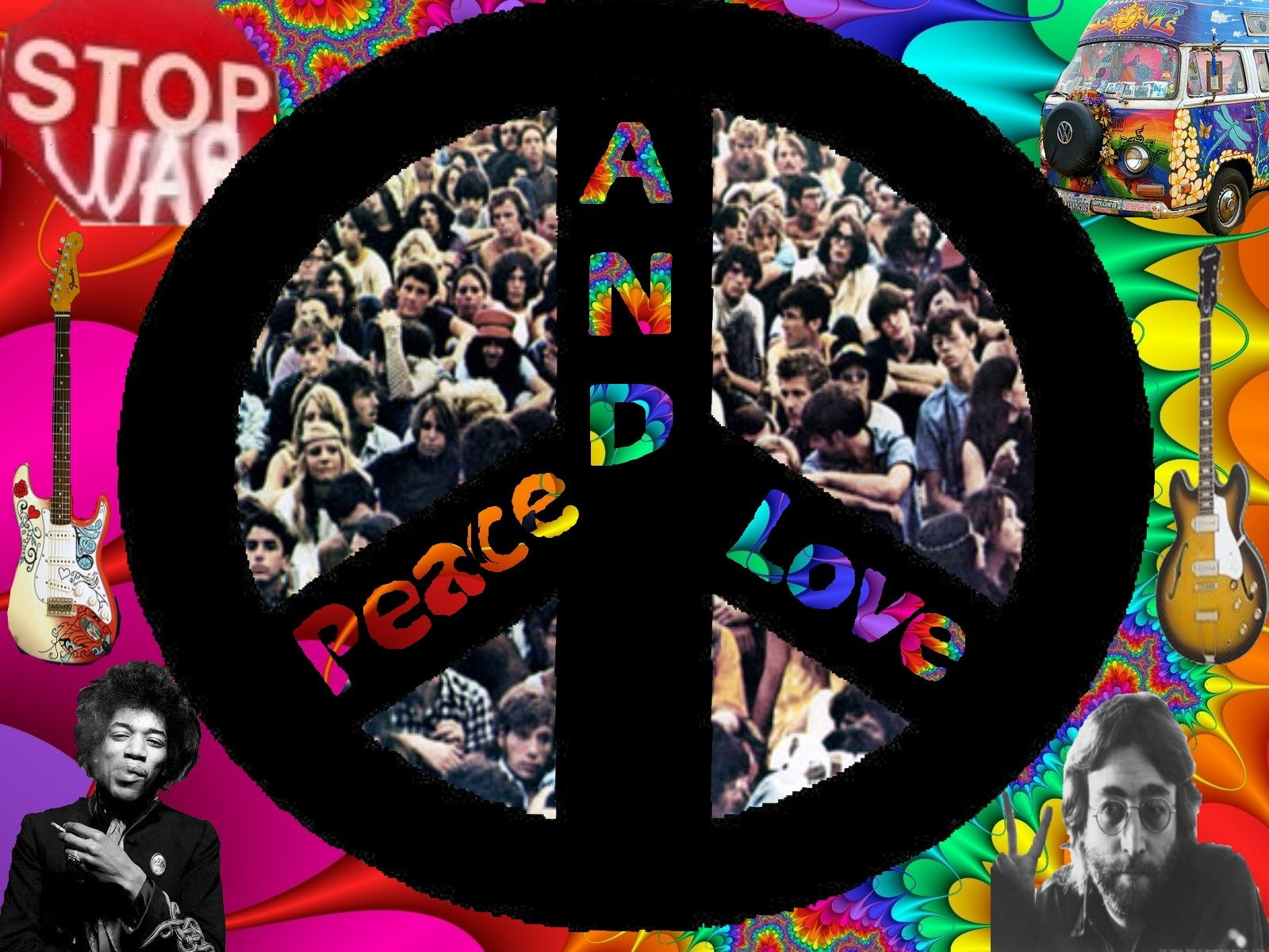 Peace Psychedelic Guitars John Lennon Sign 60s Wallpaper