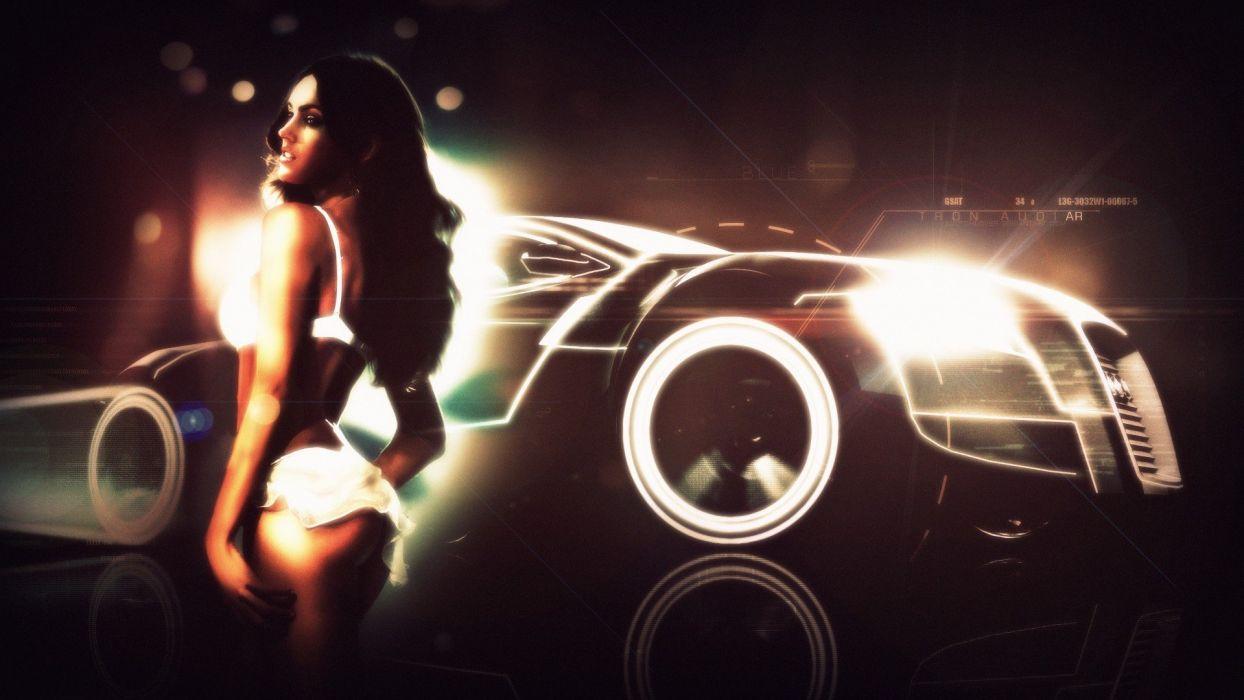 Megan Fox Tron Audi R8 GT Spyder girls with cars wallpaper