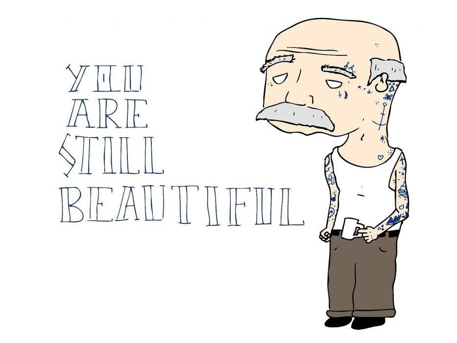tattoos cartoons men bald old people wallpaper