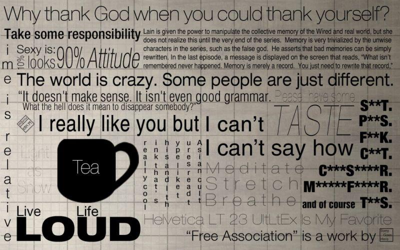 tea Serial Experiments Lain typography grid helvetica font typefaces association very random wallpaper