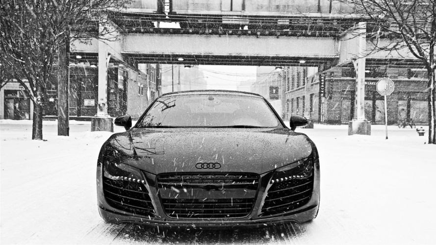 black and white winter snow cars Audi Audi R8 front view wallpaper