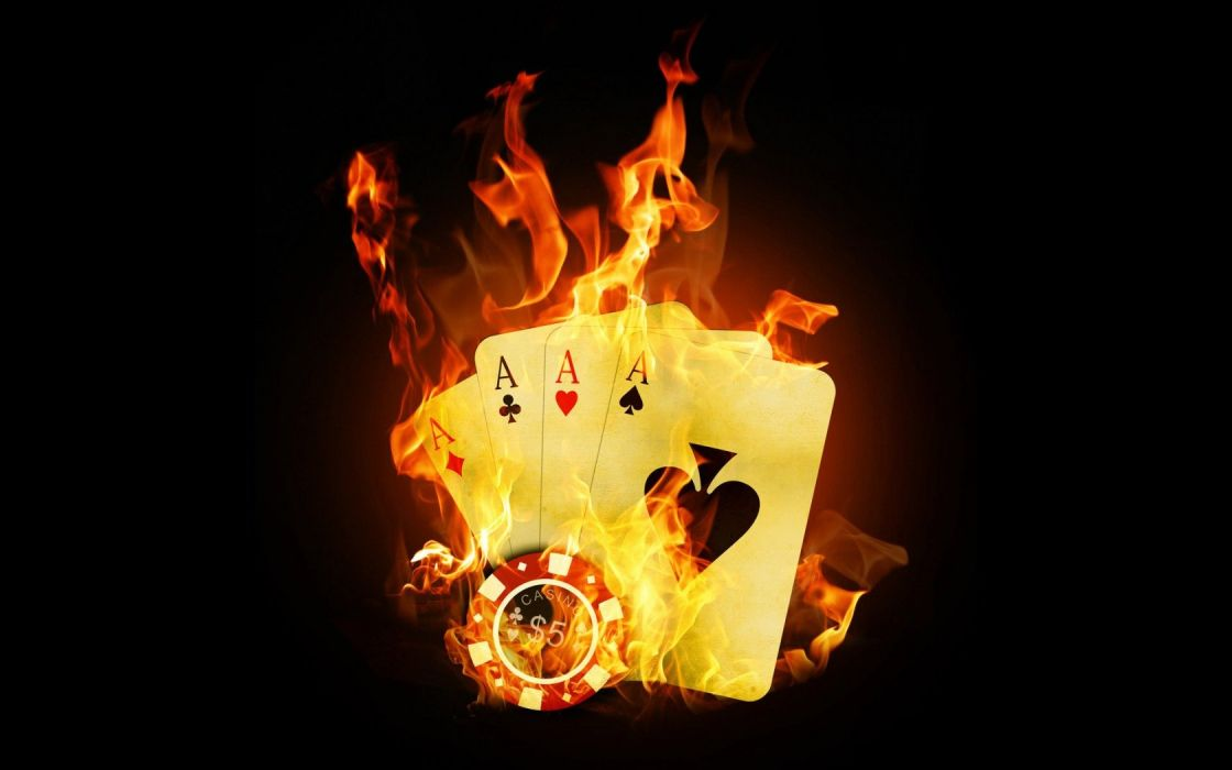 cards fire Ace black background wallpaper