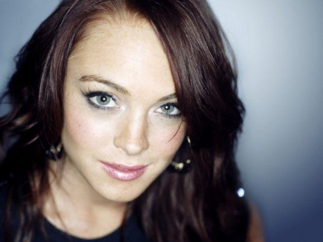 brunettes women actress celebrity Lindsay Lohan faces wallpaper