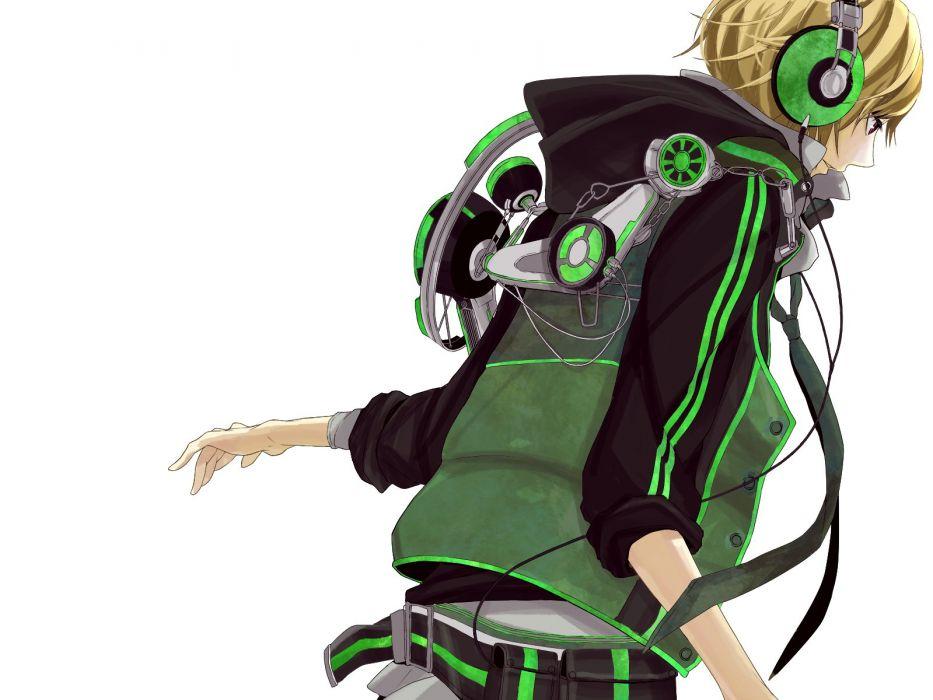 headphones Vocaloid Kagamine Len simple background wallpaper