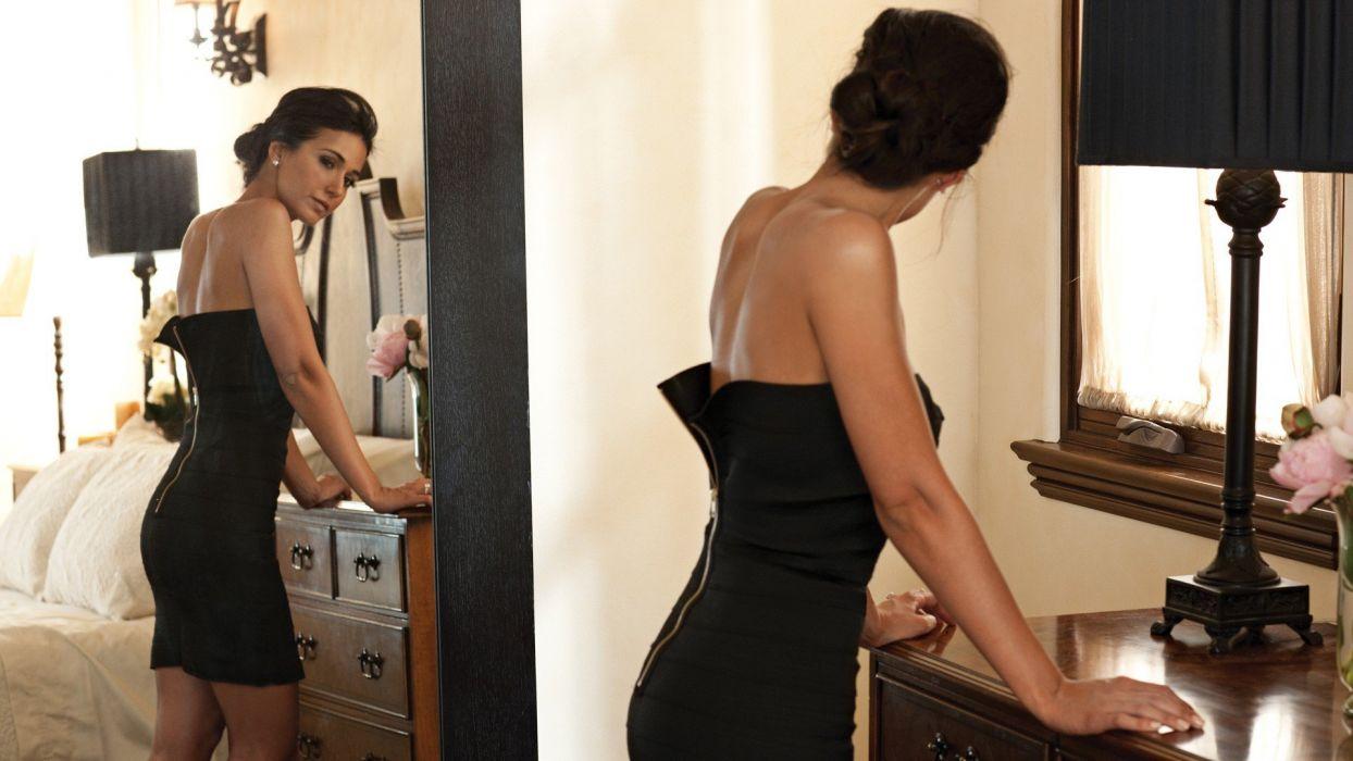 women mirrors actress Emmanuelle Chriqui black dress zippers wallpaper