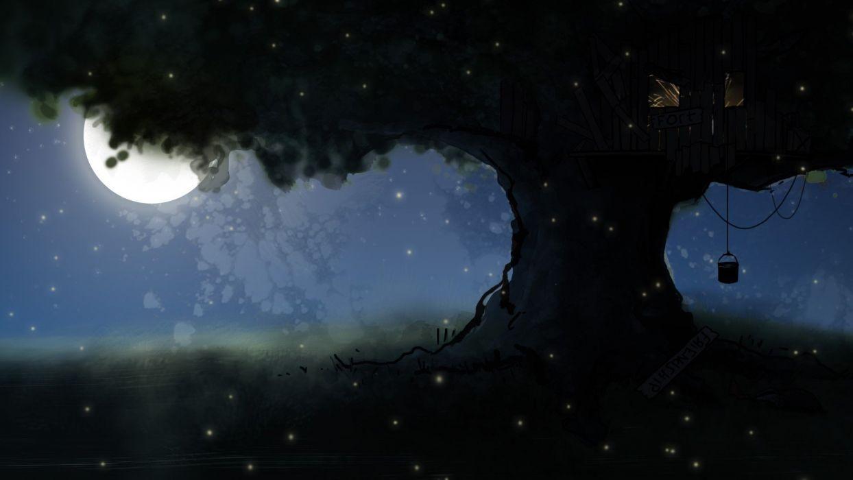 steam Valve Corporation trees night Moon wallpaper