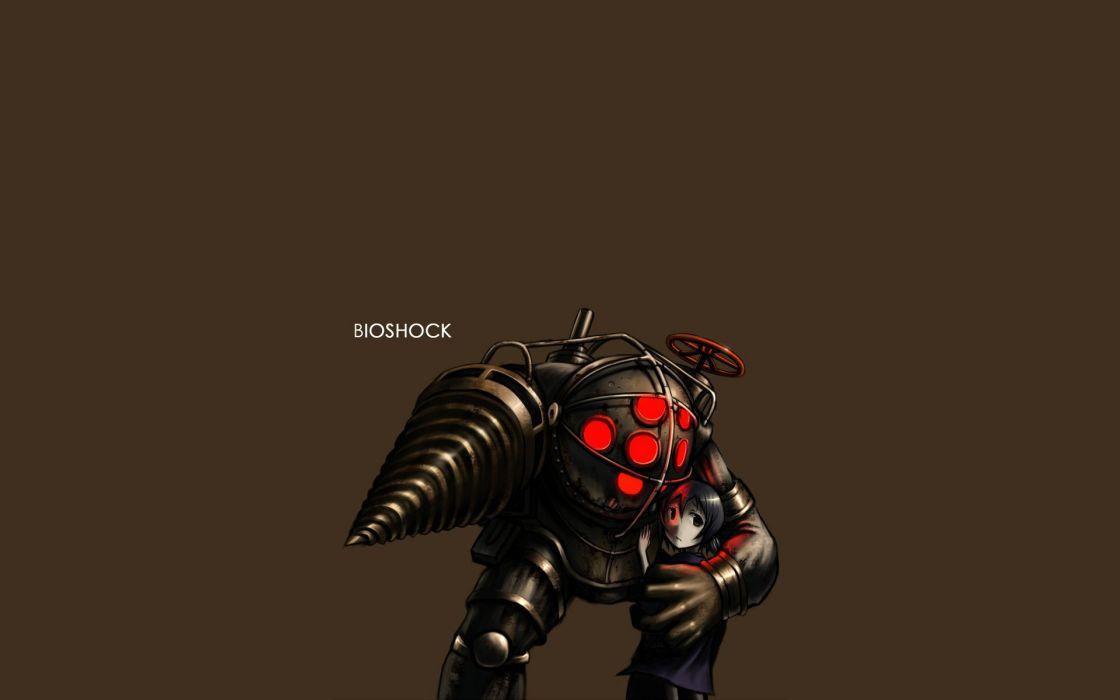 Big Daddy BioShock Gia (artist) simple background wallpaper