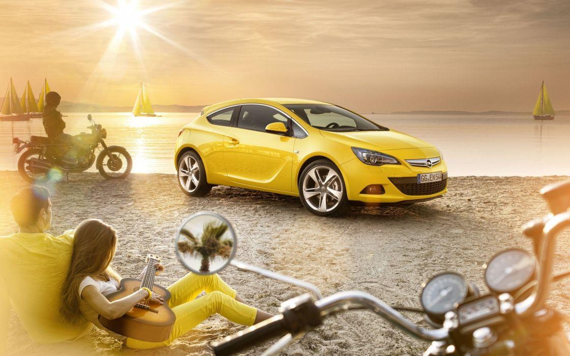 cars guitars Opel motorbikes yellow cars beaches wallpaper