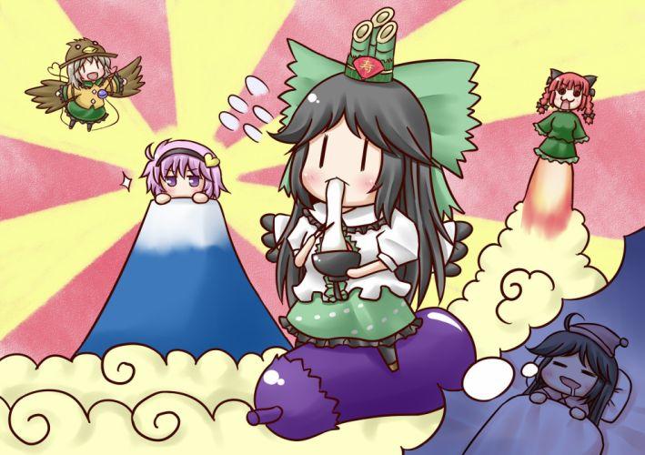 brunettes Touhou wings chibi purple hair pink hair Kaenbyou Rin white hair purple eyes Reiuji Utsuho Komeiji Koishi Komeiji Satori wallpaper