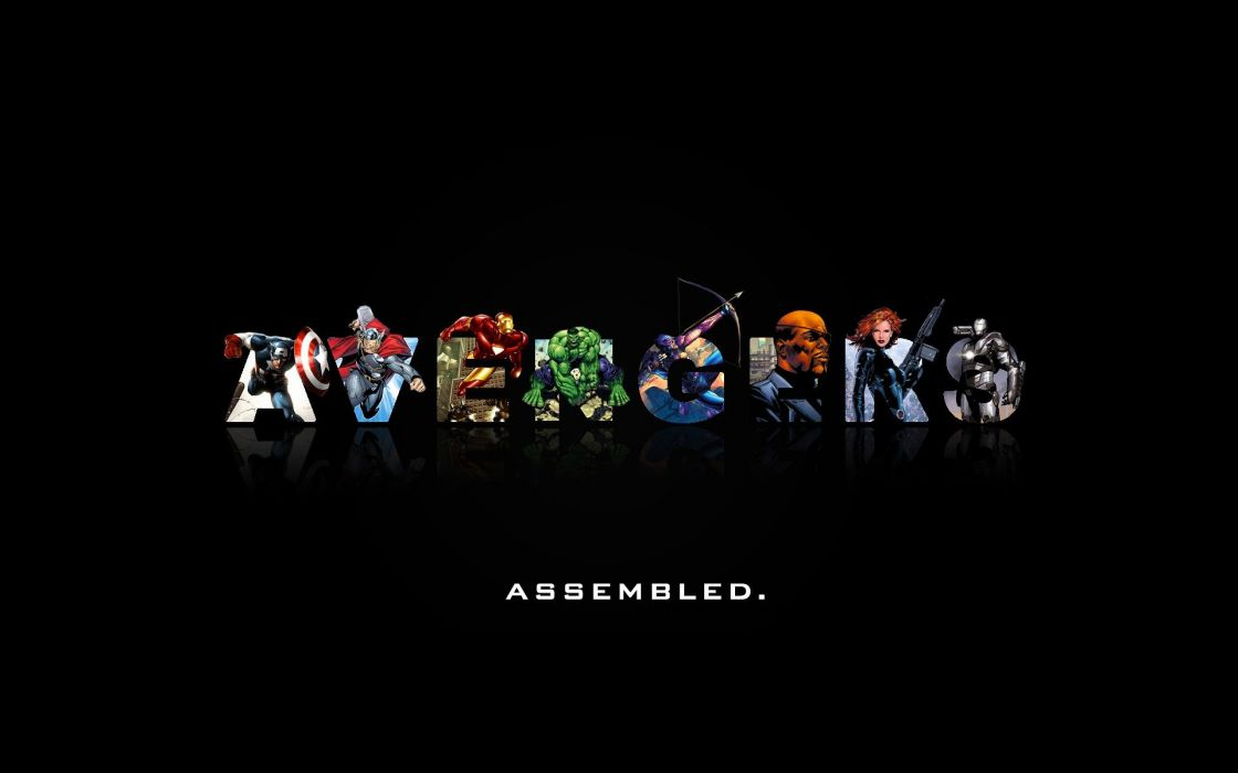 Hulk (comic character) minimalistic Iron Man Thor Captain America Black Widow War Machine The Avengers Hawkeye Nick Fury black background wallpaper