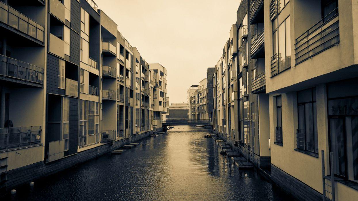 Houses Balcony Denmark Canal Copenhagen Wallpaper