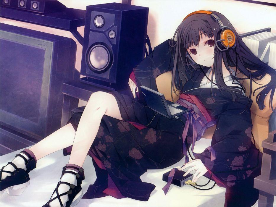 headphones music kimono Japanese clothes wallpaper