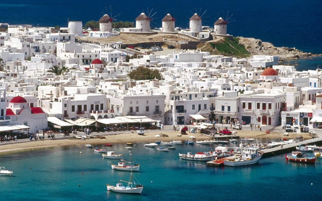 cityscapes Greece Mykonos wallpaper