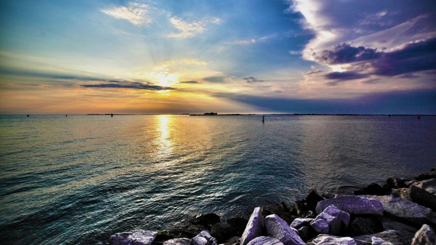 water sunset landscapes Sun skyscapes sea wallpaper