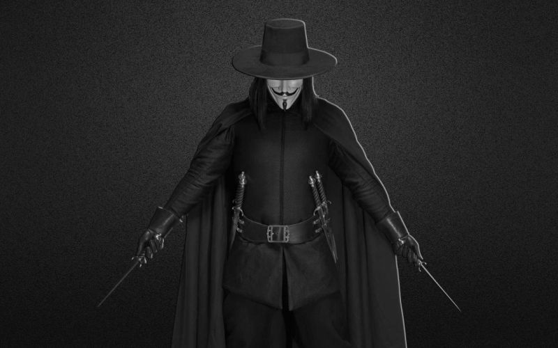 Anonymous dark weapons grayscale V for Vendetta knives blades wallpaper